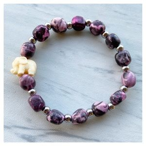 Genuine rhodonite gemstones elephant boho bracelet